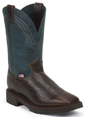 Justin Original Workboots Men's Crazyhorse J-Max Caliber Work Boots - Steel Toe, Dark Brown, hi-res