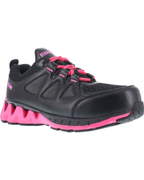 Reebok Women's ZigKick Athletic Oxford Work Shoes - Composite Toe , Black, hi-res