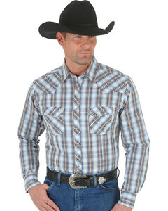 Wrangler Men's White & Blue Plaid Fashion Snap Shirt, , hi-res