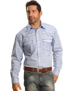 Crazy Cowboy Men's Blue Mini-Paisley Western Snap Shirt , , hi-res