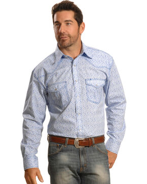 Crazy Cowboy Men's Blue Mini-Paisley Western Snap Shirt , Blue, hi-res
