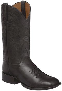 Lucchese Black Jason Lone Star Calf Cowboy Boots - Square Toe , , hi-res