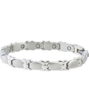 Sabona Women's Silver Bows Magnetic Bracelet, Steel, hi-res