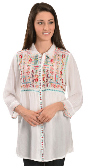 Johnny Was Women's Phaloola Embroidered Tunic, White, hi-res