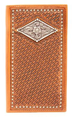 Ariat Basketweave Diamond Concho Rodeo Wallet, , hi-res