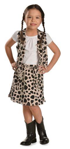 Girls' Cowprint Cowgirl Vest & Skirt Set, , hi-res