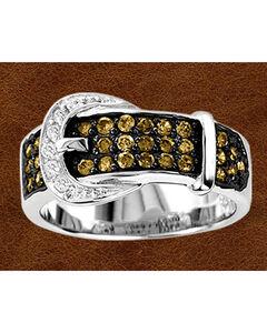 Kelly Herd Sterling Silver Chocolate Rhinestone Buckle Ring, , hi-res