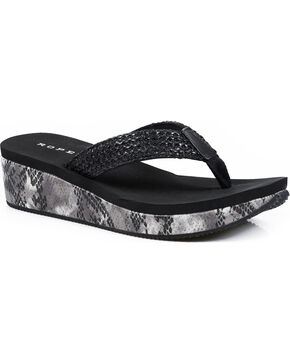 Roper Women's Black Snake Print Wedge Sandals , Black, hi-res