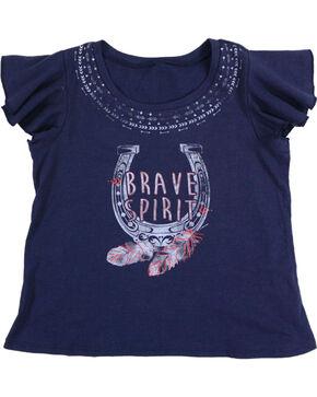 Shyanne Gilrs' Navy Brave Spirit Short Sleeve Shirt , Navy, hi-res