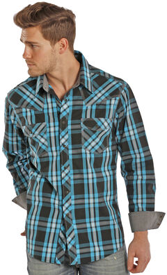 Rock and Roll Cowboy Turquoise and Black Plaid Western Snap Shirt  , , hi-res