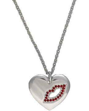 Montana Silversmiths Cowgirl Heart Sealed with a Kiss Charm Necklace, Silver, hi-res
