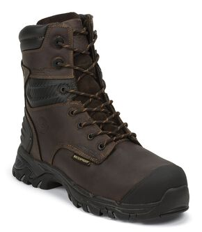 "Justin Work Tek 8"" Waterproof Lace-Up Work Boots - Composition Toe, Brown, hi-res"