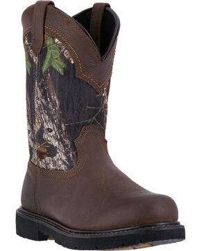 "McRae Industrial Men's Camo 11"" Pull-On Work Boots - Composite Toe , Dark Brown, hi-res"