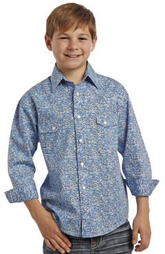 Rock and Roll Cowboy Boys' Blue Swirl Two Pocket Snap Western Shirt, , hi-res