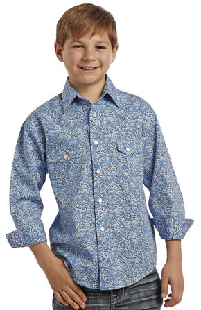 Rock and Roll Cowboy Boys' Blue Swirl Two Pocket Snap Western Shirt, Blue, hi-res