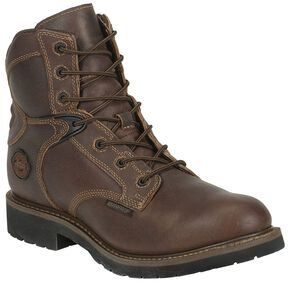 "Justin Utah 6"" Lace-Up Waterproof Work Boot - Round Toe, Brown, hi-res"
