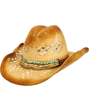 Dorfman Women's Beaded Straw Cowgirl Hat, Natural, hi-res
