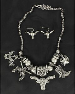 Blazin Roxx Longhorn & Boot Charms Necklace & Earrings Set, , hi-res