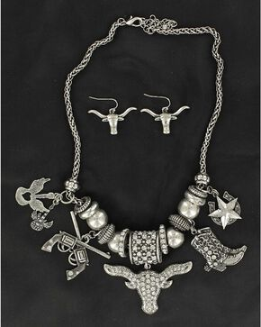 Blazin Roxx Longhorn & Boot Charms Necklace & Earrings Set, Silver, hi-res