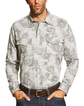 Ariat Men's Grey FR Milo Shirt - Big and Tall, Grey, hi-res