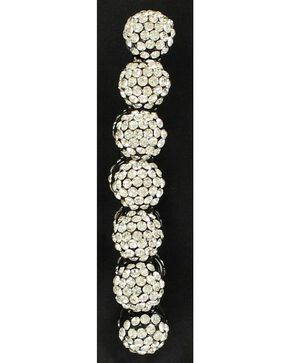 Blazin Roxx Crystal Ball Beaded Stretch Bracelet, Silver, hi-res