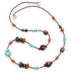 Treska Long Beaded Necklace , , hi-res