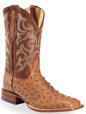 Justin Cognac Waxy Full Quill Ostrich Cowboy Boots - Square Toe , Cognac, hi-res