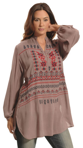 Lawman Women's Sheer Expression Embroidered Top - Plus Sizes, Grey, hi-res
