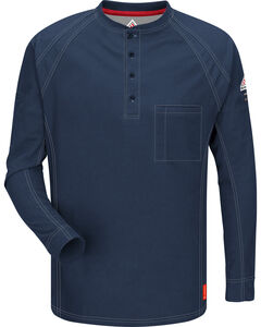 Bulwark Men's Dark Blue iQ Series Flame Resistant Henley Shirt , , hi-res