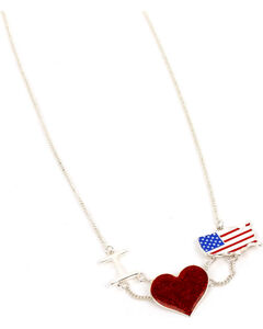 Ethel & Myrtle American Spirit Flag and Heart Necklace , , hi-res