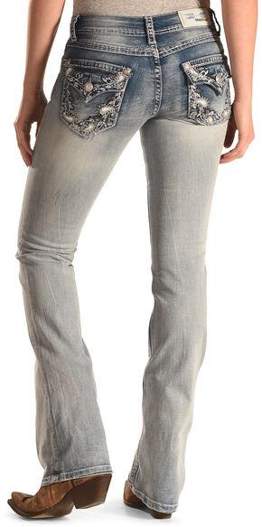 Grace in LA Women's Light Wash Paisley Bootcut Jeans, Indigo, hi-res