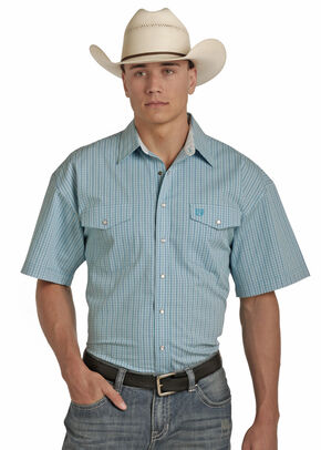 Panhandle Men's Cotton Satin Check Shirt , Blue, hi-res