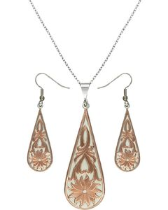 Montana Silversmiths Rose Gold Bitterroot Drops Jewelry Set, , hi-res