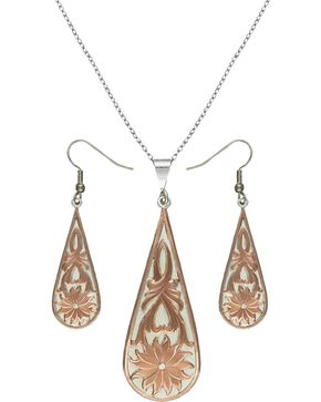Montana Silversmiths Rose Gold Bitterroot Drops Jewelry Set, Silver, hi-res