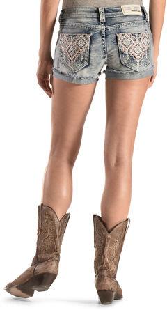 Grace in LA Aztec Embroidered Cutoff Shorts, , hi-res