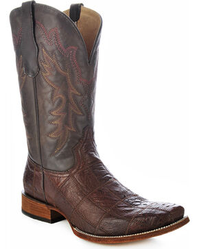 Circle G Tobacco Brown Ostrich Patchwork Cowboy Boots - Square Toe, Tobacco, hi-res