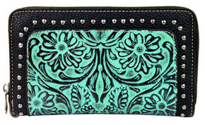 Montana West Trinity Ranch Tooled Wallet with Studs, Turquoise, hi-res
