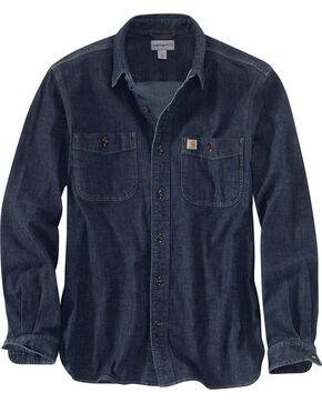 Carhartt Men's Rugged Flex Denim Long Sleeve Shirt, Blue, hi-res