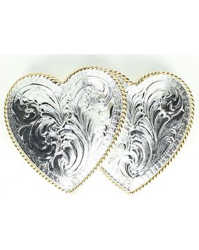Crumrine Double Heart Buckle, Silver, hi-res