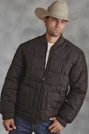 Roper Cotton Quilted Brown Jacket, Brown, hi-res