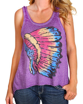 Rock & Roll Cowgirl Women's Purple Indian Head Dress Tank , Purple, hi-res