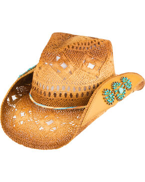 Peter Grimm Women's Chogan Beaded Cowgirl Hat, Natural, hi-res