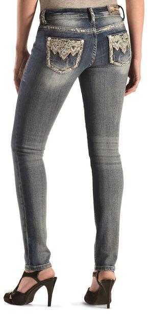 Grace in LA Women's Aztec Embellished Skinny Jeans , Denim, hi-res