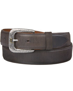 Lucchese Men's Straight Chocolate Burnished Goat Belt, , hi-res