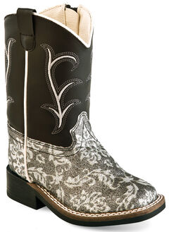 Old West Toddler Girls' Black and Charcoal Western Boots - Square Toe , , hi-res