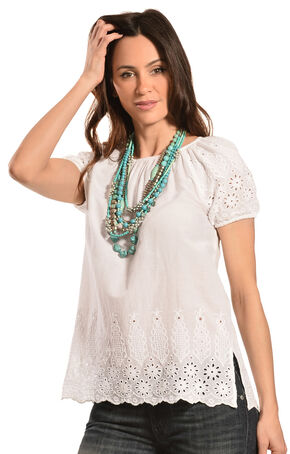 Red Ranch Women's Cotton Eyelet Top, White, hi-res
