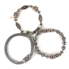 Treska 3 Strand Silver Bracelets , , hi-res