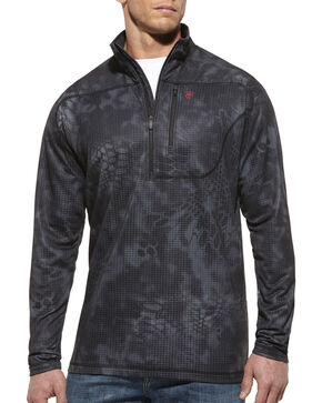 Ariat Men's 1/4-Zip Kryptek Typhoon Performance Pullover, Black, hi-res