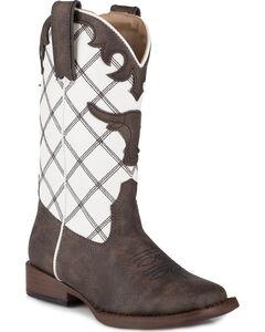 Roper Boys' Steerhead Diamond Stitch Cowboy Boots - Square Toe, , hi-res