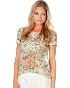 Miss Me Floral Print Lace Back Top, , hi-res